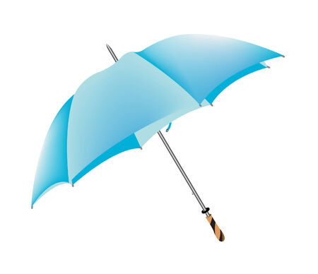vector illustration of a blue umbrella isolated on white Vector