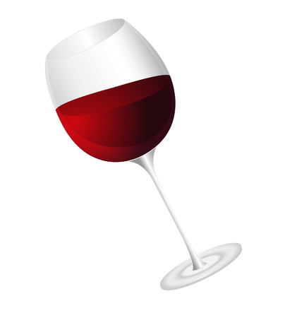 back lit: vector  illustration of wine glass isolated on white