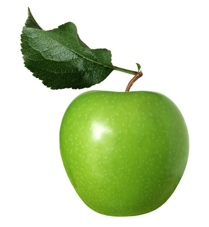 granny smith: Granny smith green apple with leaf isolated on white