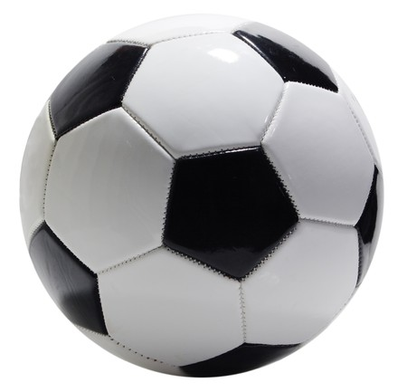 Single soccer ball isolated on white background