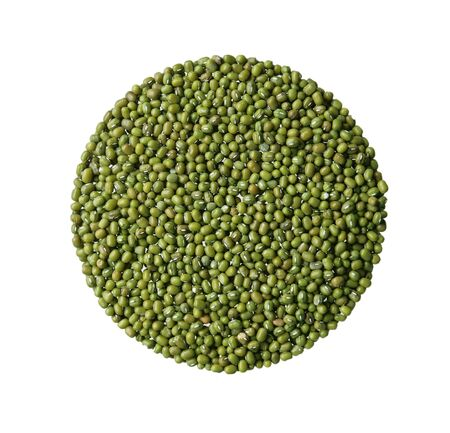 mung: Pile of green mung beans isolated on white Stock Photo