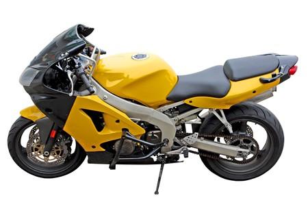 Sinlge motocycle parking isolated on white background