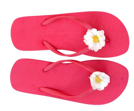 footware: Pink flip flop isolated on white background