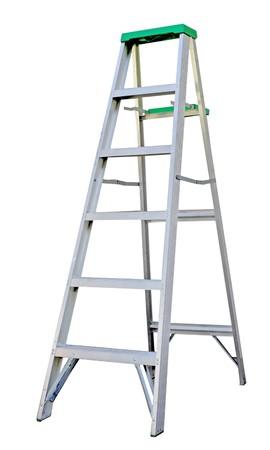 step: Aluminum step ladder isolated on white background Stock Photo