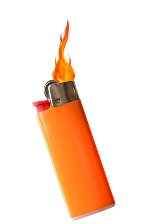 Flaming plastic disposal lighter isolated on white photo