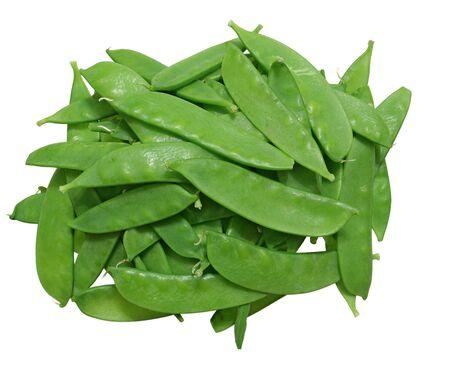 Unshelled sugar peas isolated on white background