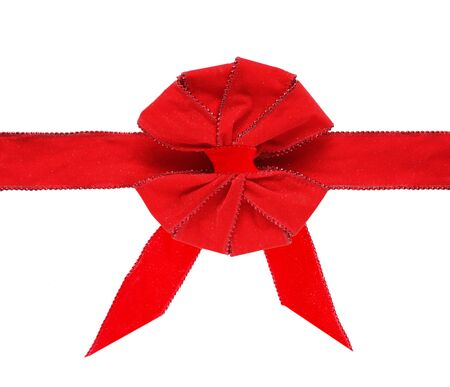 compliment: Red velvet bibbon and bow isolated on white Stock Photo