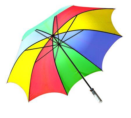 白で隔離され、カラフルな耐風ゴルフ傘