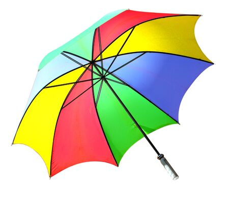resistant: Colorful wind resistant golf umbrella, isolated on white Stock Photo