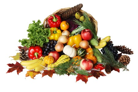 bountiful: Thanksgiving basket filled with autumn fruits and vegetables