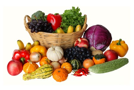 Autumn vegetable and fruits harvesting isolated on white