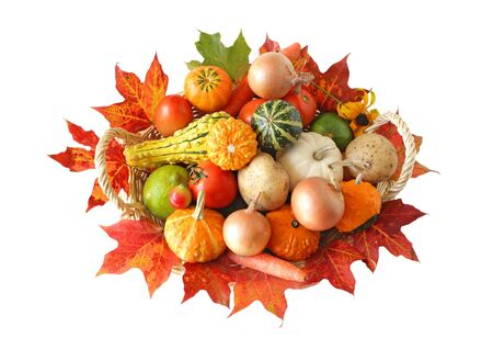 Basket of colorful vegetables in the Autumn photo