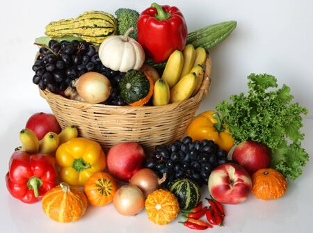 Basket of autumn harvest vegetable and fruits