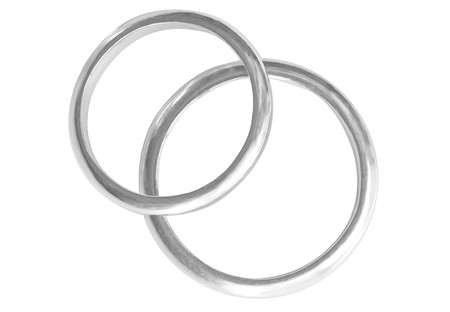 Two platinum rings isolated on white background