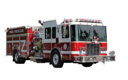 camion pompier: Fire Rescue Truck isolé sur blanc détourage inclus