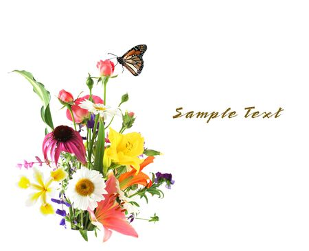 arrangment: Colorful flowers and monarch butterfly isolated on white
