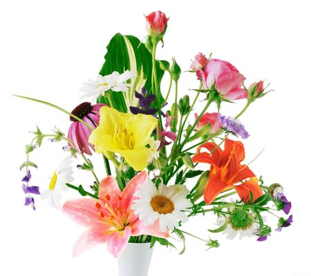 Colorful flowers in vase isolated on white background photo