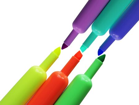 accesory: Six color high-light markers isoalted on white background