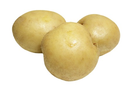 spud: Three golden potatoes isolated on white background