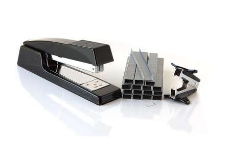 office stapler: Stapler, staples strips and remover on white background Stock Photo