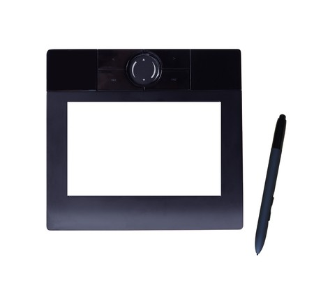 Black graphic table with blank LCD and pen isolated on white, path included Stock Photo - 4267982