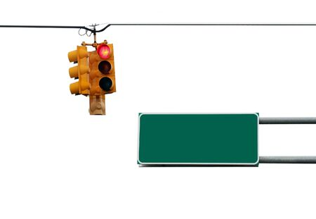 Traffic light and road sign isolated on white with path included Stock Photo