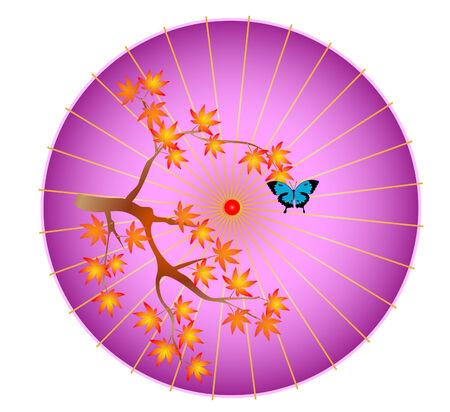 화이트 절연 중국 파라솔 우산의 래스터 그림