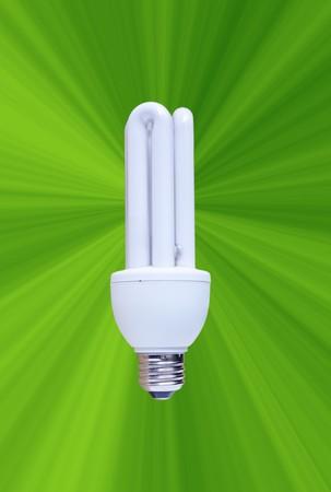 fluorescent light bulb on green background