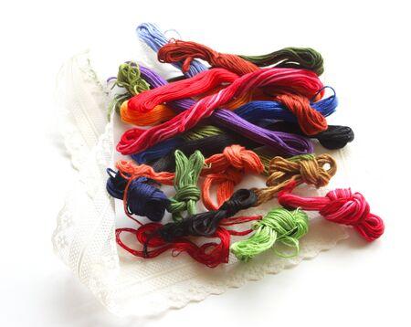 penetration: Embroidery thread Stock Photo