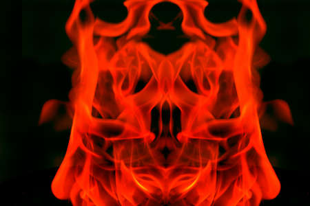 Abstract symmetrical fire on black ground photo