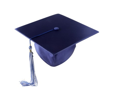 mortarboard: Graduation hat with white blue tassel Stock Photo