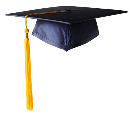 graduate hat: Graduation hat white golden tassel