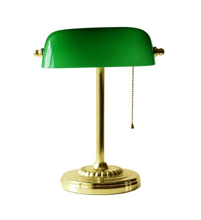 lamp: Classic Banker desk lamp with gold pull chain isolated on white backgrund