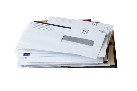 envelope: Junk Mail isolated on white background