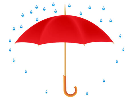 Vector illustration of a red umbrella and raindrops Stock Vector - 4282249
