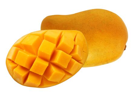 Mango sliced in half Standard-Bild