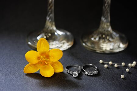 Diamond ring and crocus photo