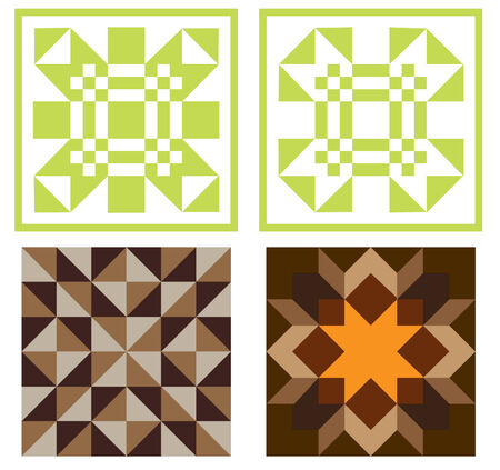 quilt: vector illustration of four quilt blocks isolated on white