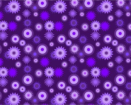 Raster illustration of purple flowery wallpaper patter