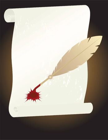 Raster illustration of old paper and feather brush Vector