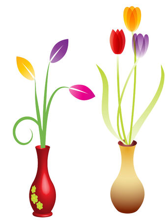 Ilustración de un conjunto de dos flores en jarrones Ilustración de vector