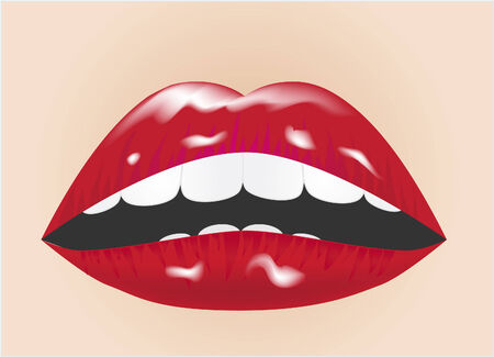 Illustration of glossy lips against skin tone background