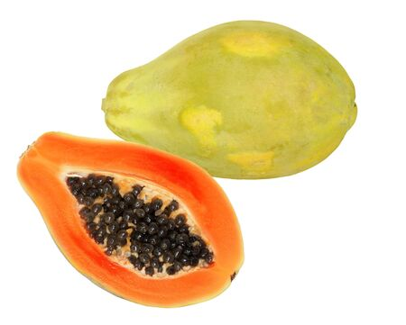 One and a half papaya fruits isolated on white