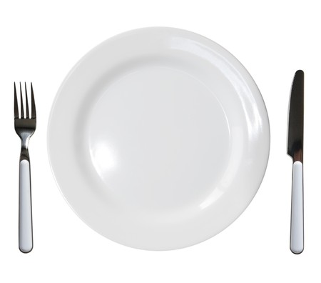 collation: Close up of a diner plate with fork and knife