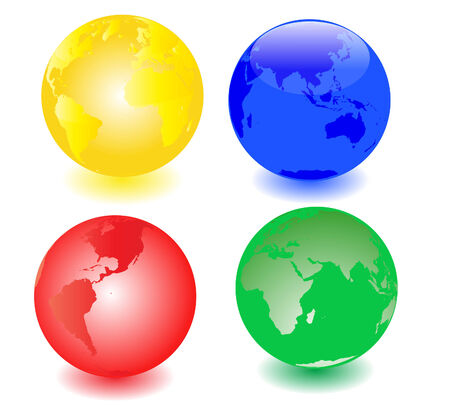 Illustration of a set of four globes Vector