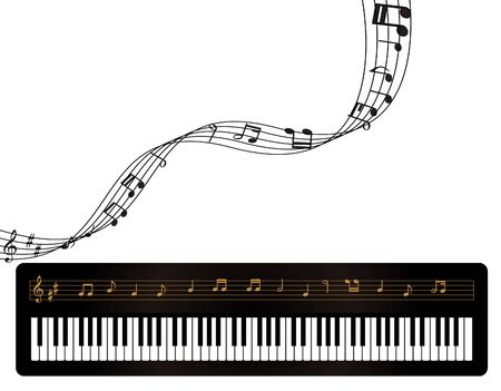 Illustration of a piano and music notes Imagens