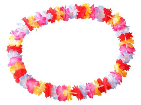 Necklace of bright colorful flowers lei isolated on white   Stock Photo
