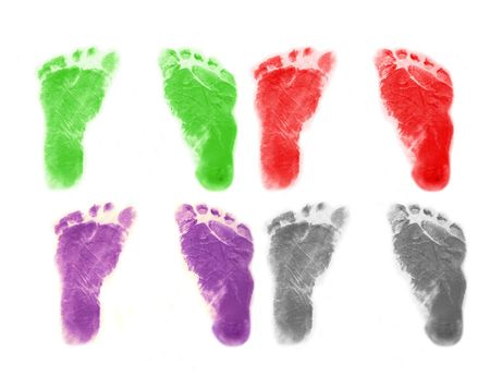 Set of infant s footprints in four colors