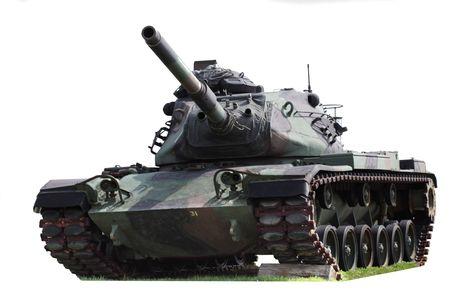 흰색 배경에 고립 된 미국의 군사 탱크