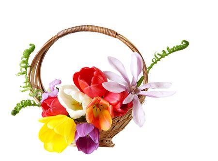 Beautiful fresh flower basket isolated on white